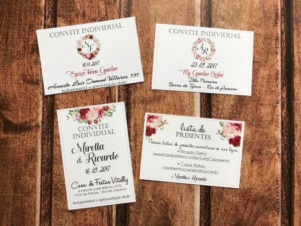 140 convites individual ou lista de presente casamento