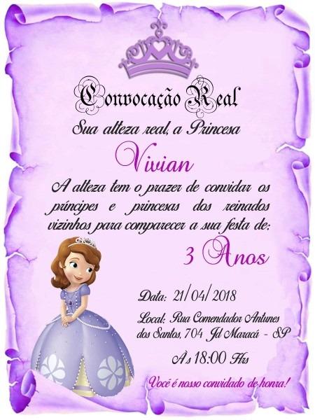 160 convite pergaminho lilás princesa sofia