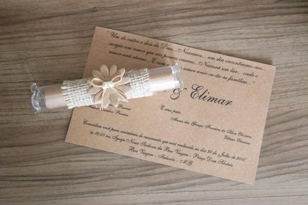 16 convites casamento rustico pergaminho