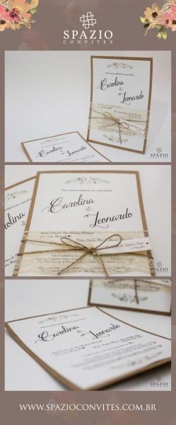 Convite de casamento rustico com renda e sisal, tag com nome dos