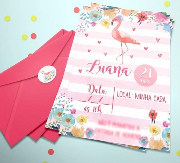 20 convite aniversário festa flamingo + etiq + env