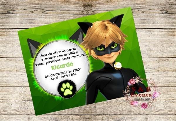 20 convites cat noir