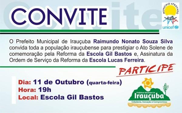EspaÇo livre  convite do prefeito nonatinho a população irauçubense