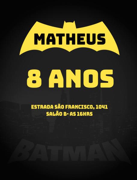 Convite online batman editar grátis