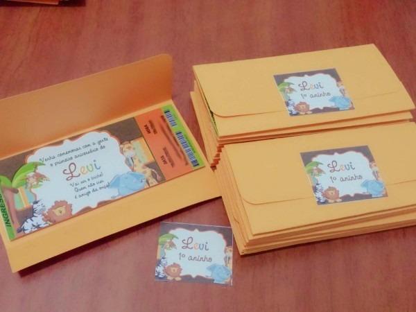 25 convite ingresso com envelope aniversário personalizado