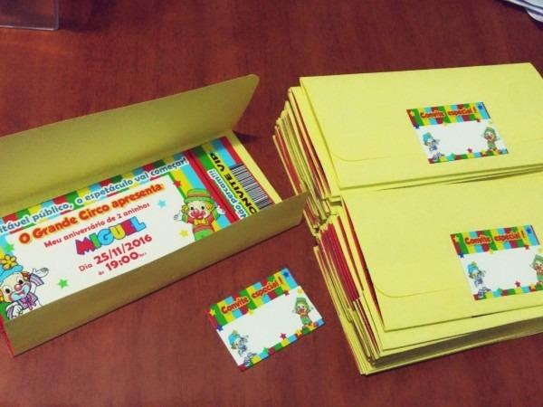 25 convite ingresso envelope color aniversário personalizado