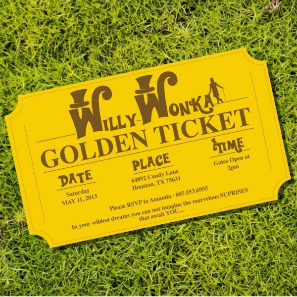 Willy wonka golden ticket party invitations from sunshineparties