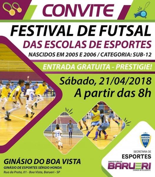 Festival de futsal das escolas de esporte – convite – barueri