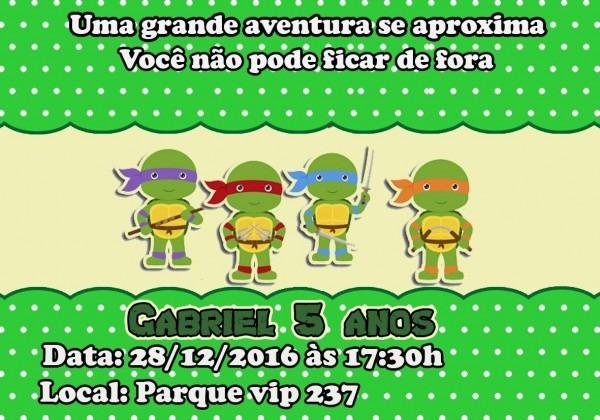 30 convite tartaruga ninja babay