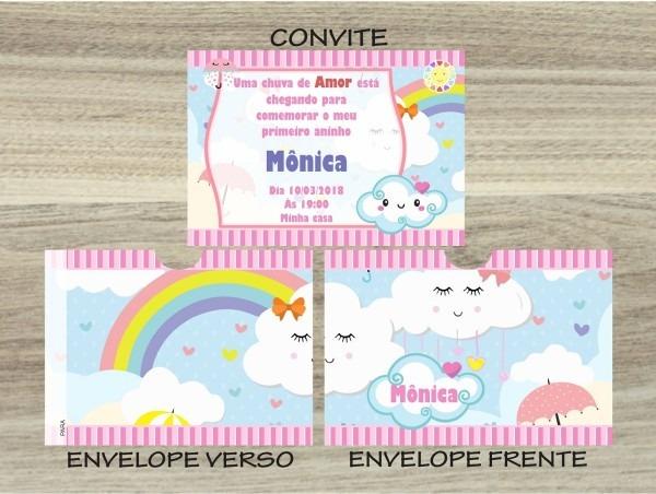 30 convites infantil chuva de amor envelope personalizado