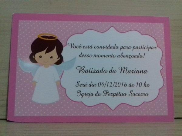 30 convites personalizados batizado menina