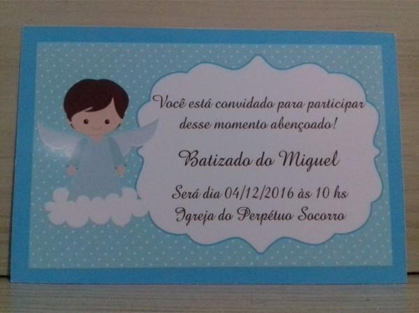 30 convites personalizados batizado menino