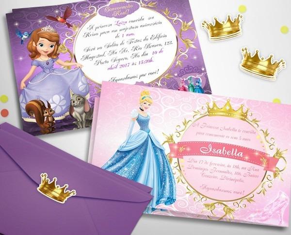 30 convites princesa sofia personalizados + frete grátis