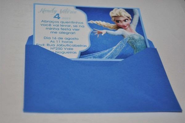 32 convites frozen personalizados com envelope e etiqueta
