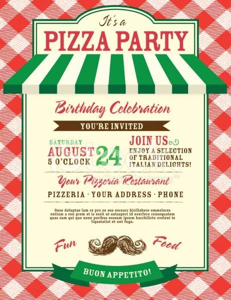 Pizza e aniversário festa convite modelo stock vector