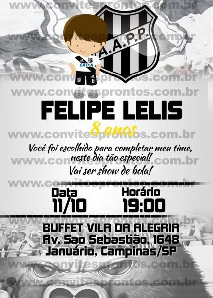 Convite de aniversário tema time de futebol ponte preta, solicite