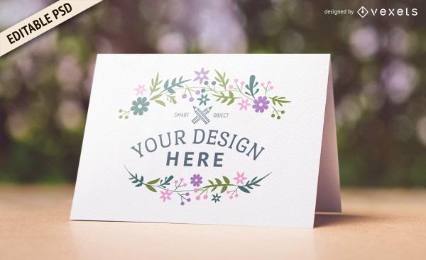 Design de maquete de cartão de casamento psd