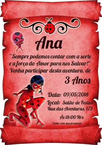 50 convite pergaminho ladybug e catnoir