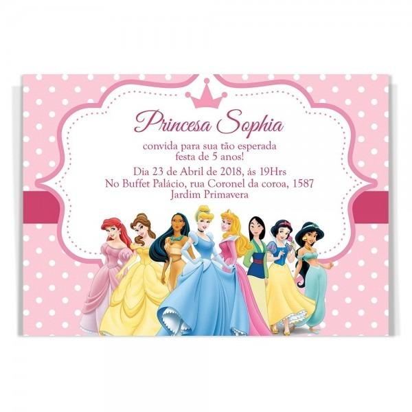 50 convites aniversário infantil princesas disney + brinde!