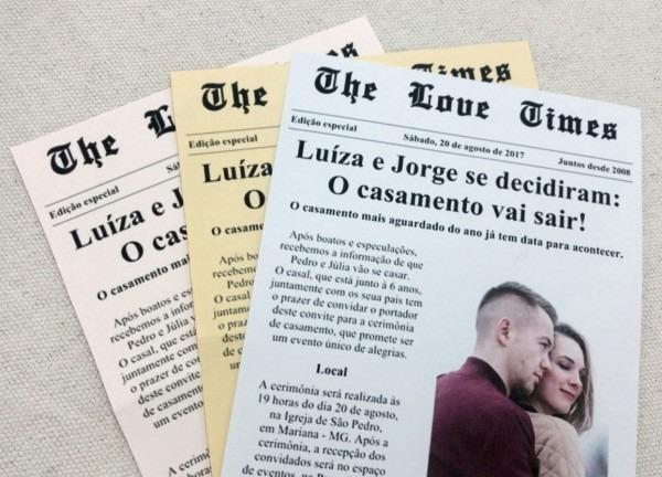 50 convites casamento modelo jornal frete grátis + fitilho
