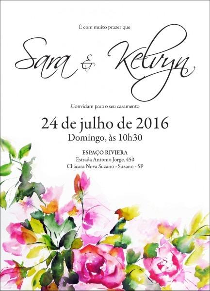 50 convites com aquarela floral no elo7