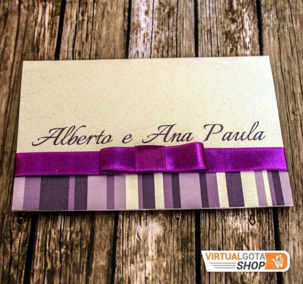 50 convites de casamento roxo com lilás acompanha tag