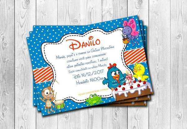 50 convites galinha pintadinha personalizados 10x15cm