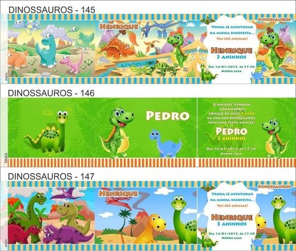 50 convites infantil dinossauro envelope personalizado