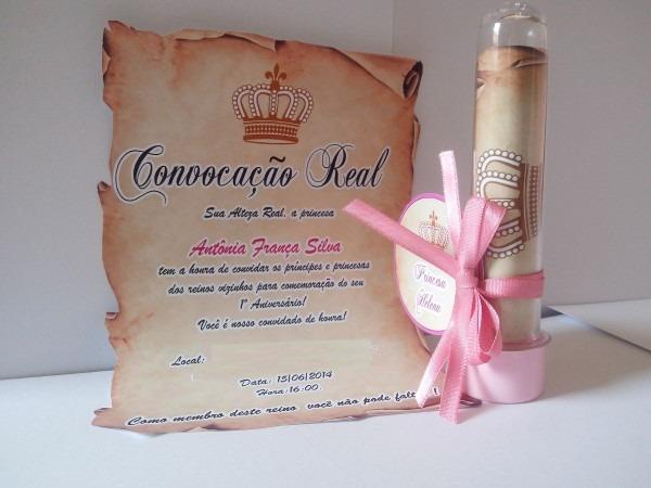 50 convites pergaminho com tubete