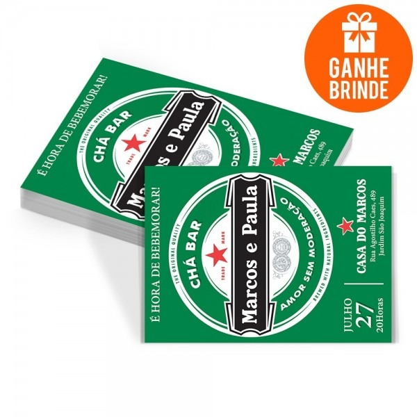 50 convites personalizados chá bar heineken + brinde