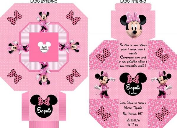 60 convites caixa minnie rosa disney personalizado