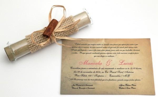60 convites casamento pergaminho