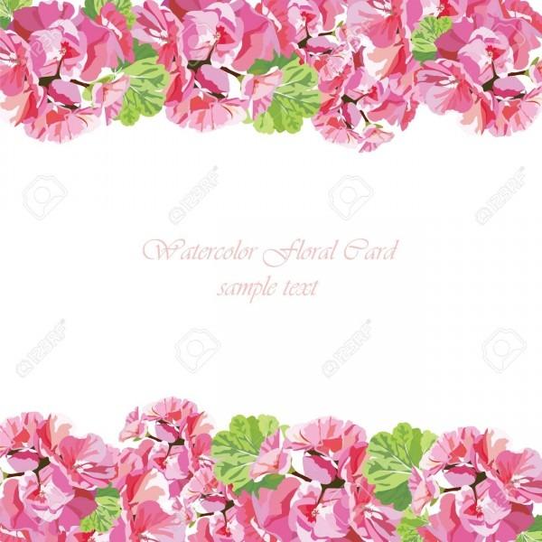 Cartão de flores de gerânio de aguarela  borda floral para cartões