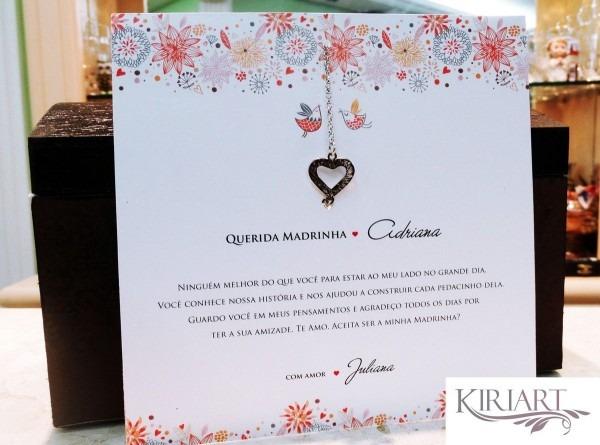 Convite madrinha casamento c  pulseira