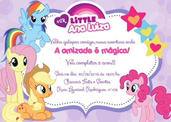 Convite personalizado my little pony, tamanho 10x15 em papel