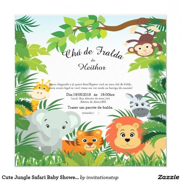Convites bonitos do chá de fraldas do safari de