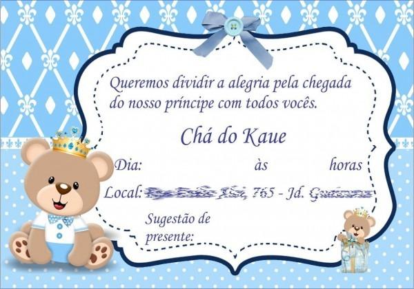 Convite ursinho príncipe para chá de bebê  personalizamos todos os