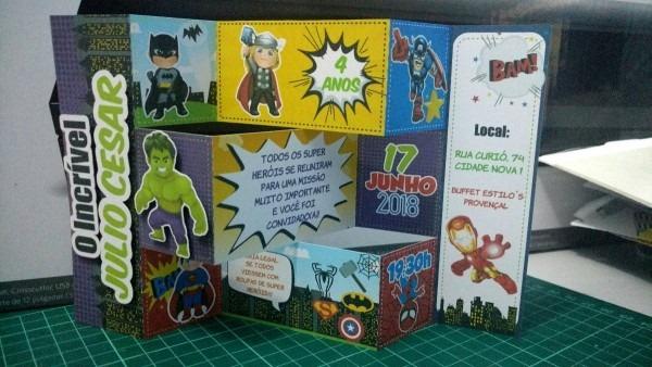 Arquivo de corte convite articulado super herois silhouette