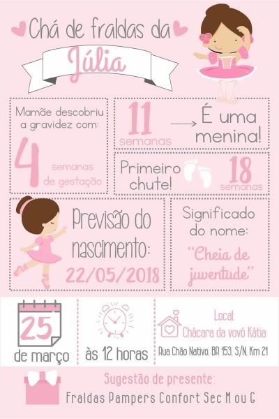Arte convite digital cha de bebe bailarina no elo7