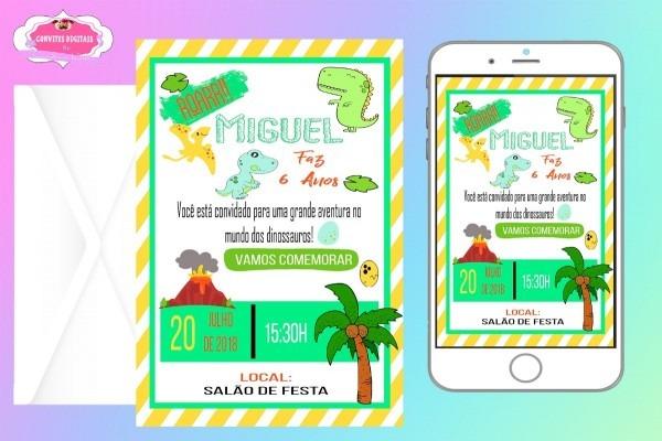 Arte convite digital aniversário infantil dinossauro