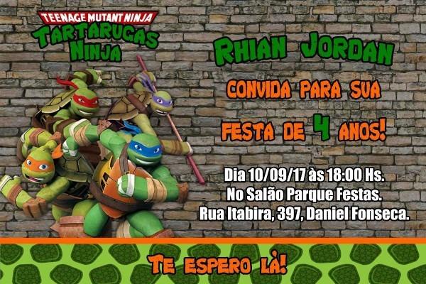 Arte convite digital virtual tartarugas ninja