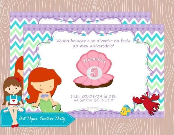 Arte convite pequena sereia no elo7
