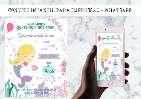 Arte digital convite aniversário infantil ( sereia )