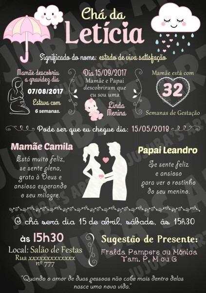 Arte digital convite chalkboard chá de bebê chuva de amor