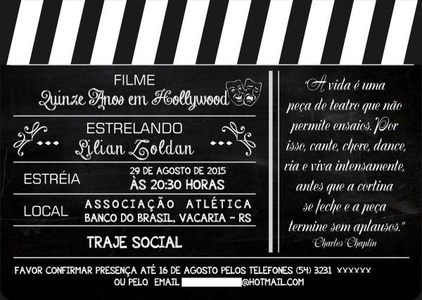 Arte digital convite claquete cinema no elo7