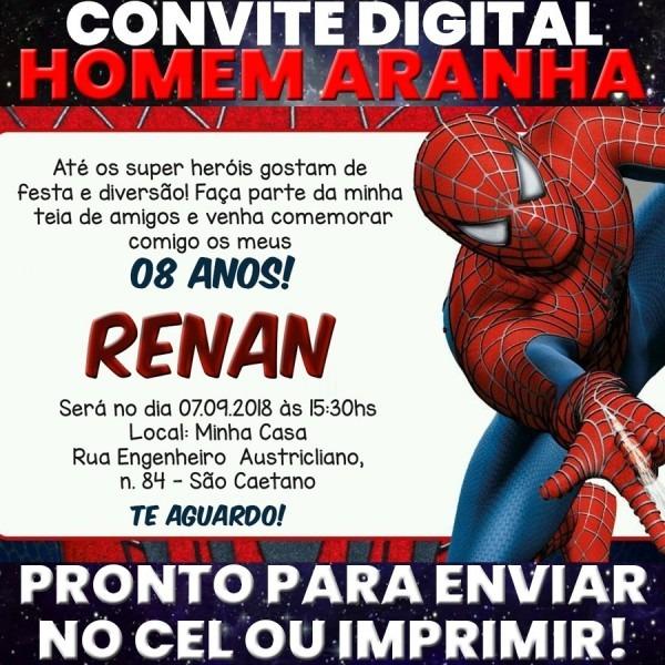 Arte digital convite festa aniversário promo  homem aranha
