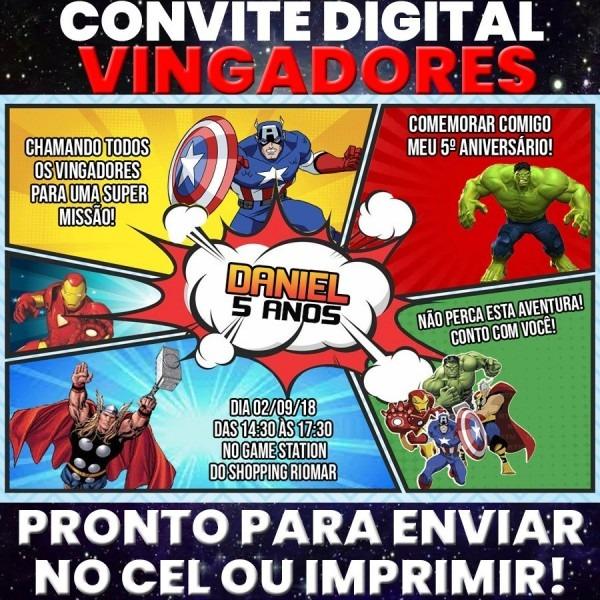 Arte digital convite festa aniversário promoção  vingadores