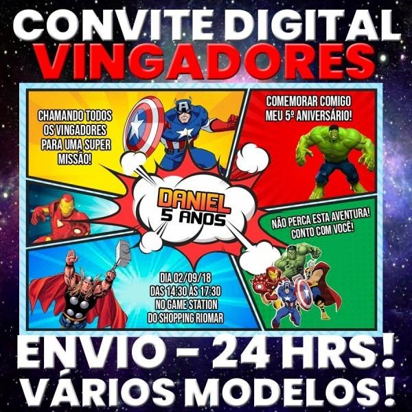 Arte digital convite festa aniversário  vingadores desenho