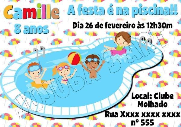 Arte digital convite festa na piscina no elo7