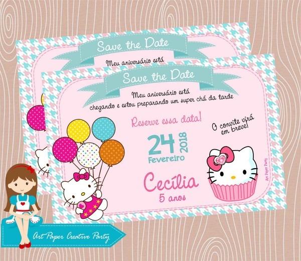 Arte save the date ou convite hello kitty no elo7